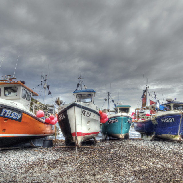 """Fishing boats Cadgwith Cornwall"" stock image"