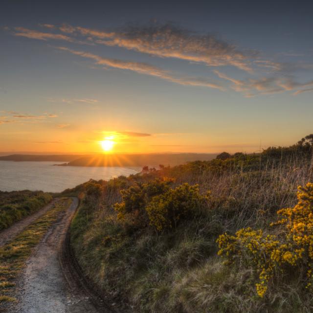 """Porthleven Sunset Cornwall"" stock image"