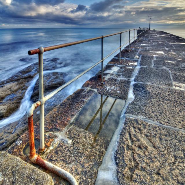 """Porthleven Harbor Wall Cornwall"" stock image"