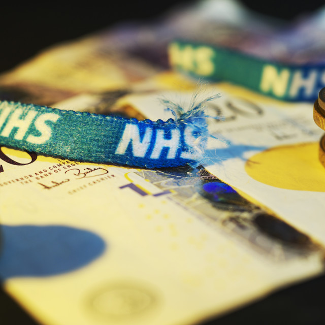 """NHS - Running out of money"" stock image"