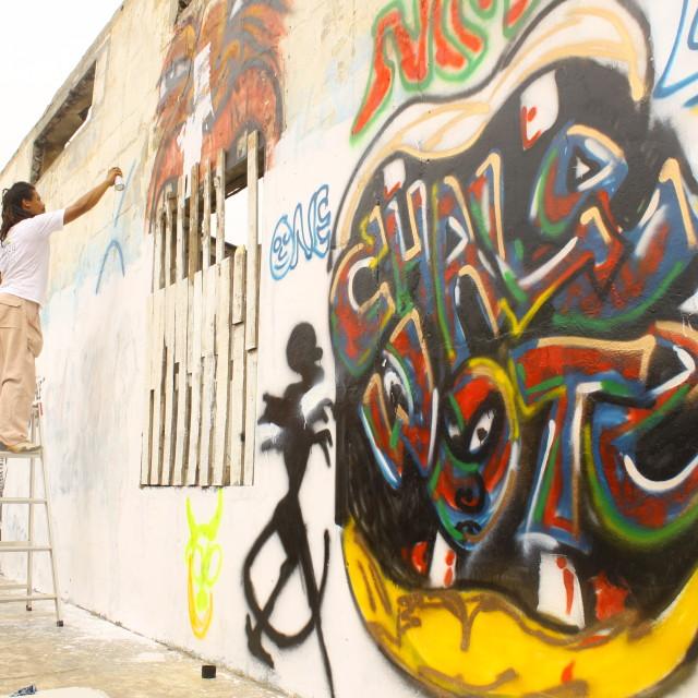 """""""Graffiti in Accra"""" stock image"""