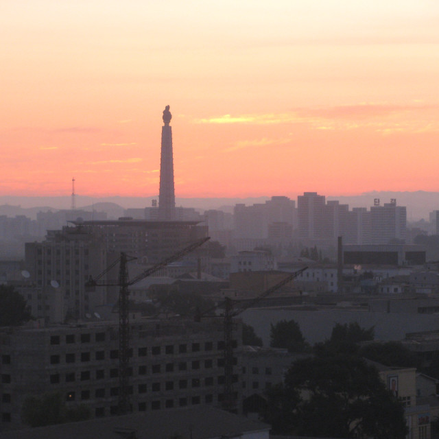 """Sunrise in Pyongyang"" stock image"