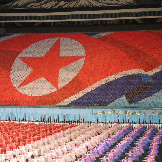 """North Korean flag, Arirang Mass Games"" stock image"