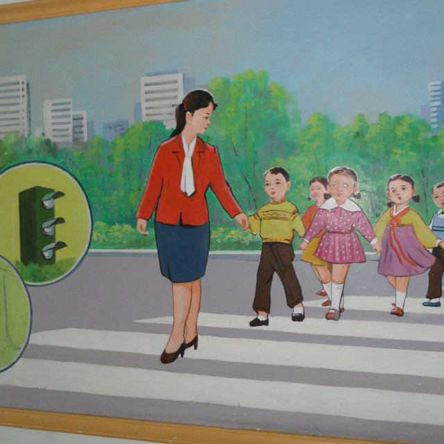 """Children's Mural, North Korea"" stock image"