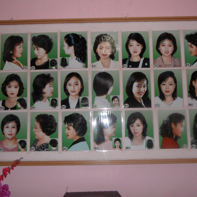 """Womens haircuts in North Korea"" stock image"