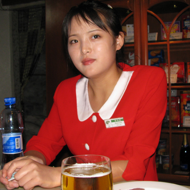 """North Korean waitress"" stock image"