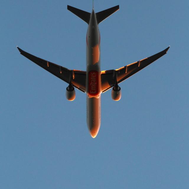 """""""Emirates plane"""" stock image"""