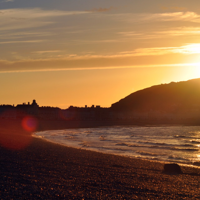 """Sunset over Llandudno"" stock image"