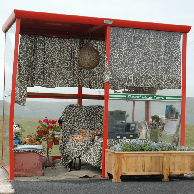 """""""World's cosiest bus shelter"""" stock image"""