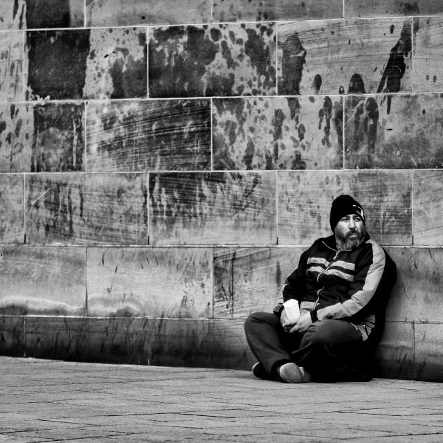 """""""Homeless man begging for change"""" stock image"""