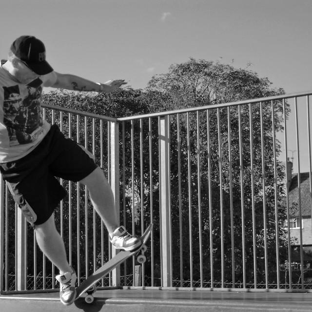 """Skater Dad B&W"" stock image"