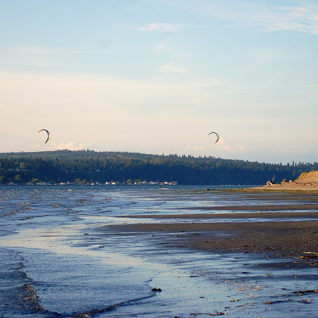 """Kite Surfers at Jetty Island #1"" stock image"