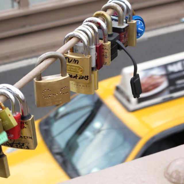 """""""Love padlocks on Brooklyn Bridge"""" stock image"""
