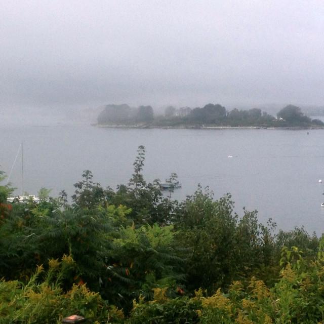 """""""Foggy Casco Bay, Maine"""" stock image"""