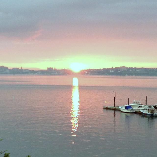 """Sunset Over Portland Harbor"" stock image"