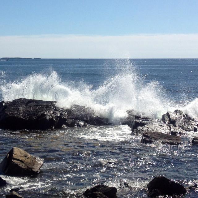 """""""Crashing Waves On Peaks Island"""" stock image"""