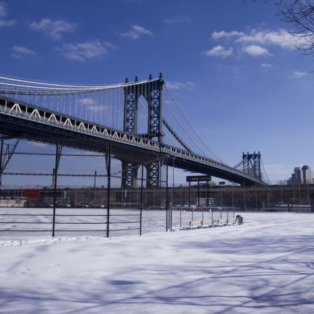 """Frozen Manhattan bridge"" stock image"