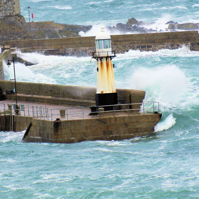 """St Ives Harbour Storm"" stock image"