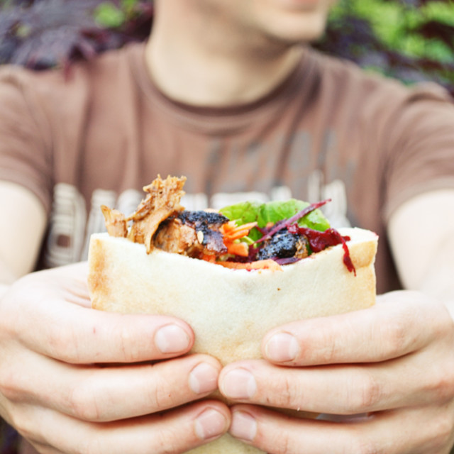 """A pulled pork pitta"" stock image"