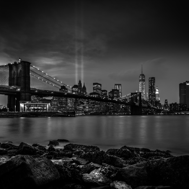 """Brooklyn bridge bw"" stock image"