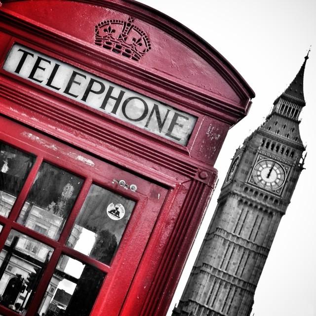 """Red telephone box"" stock image"