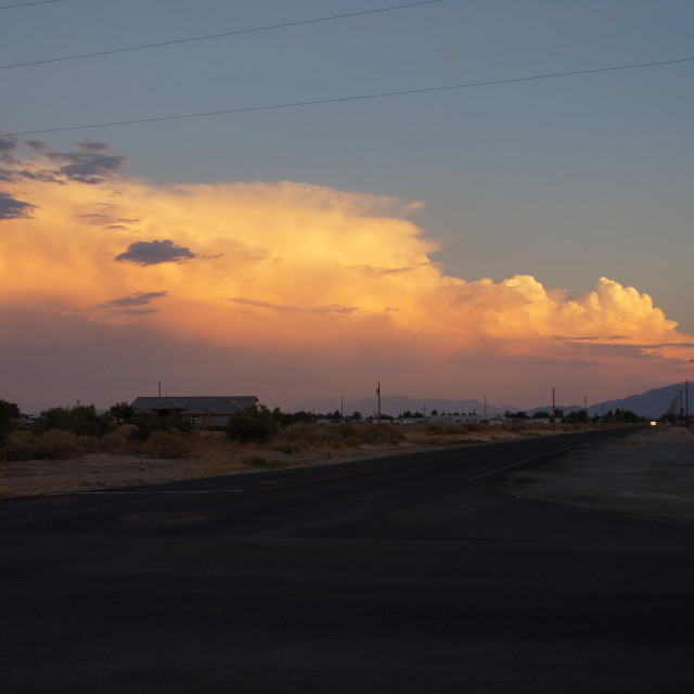 """Sunset on road from Death Valley to Las Vegas"" stock image"