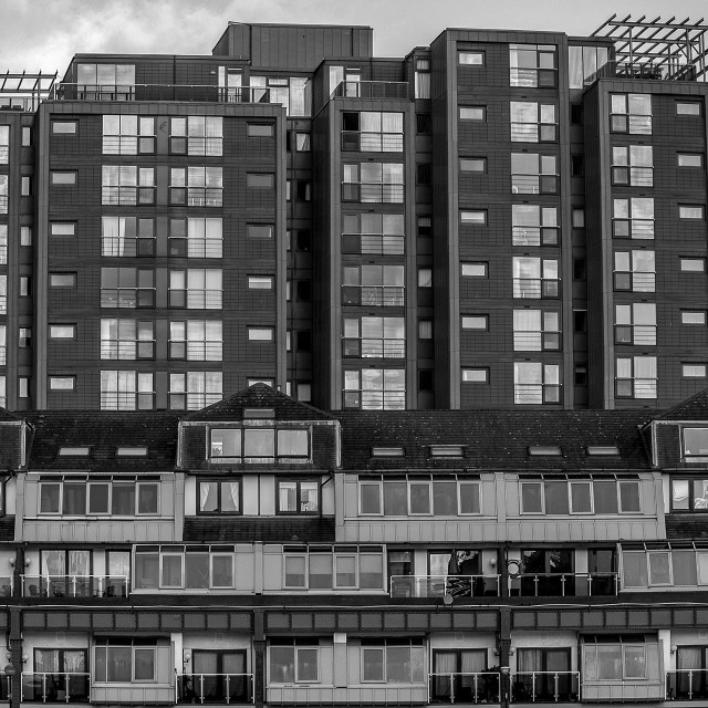 """Flats on the Broomielaw, Glasgow"" stock image"