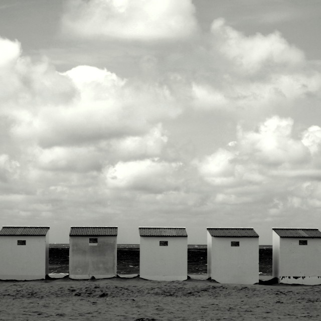 """Beach Cabins II"" stock image"