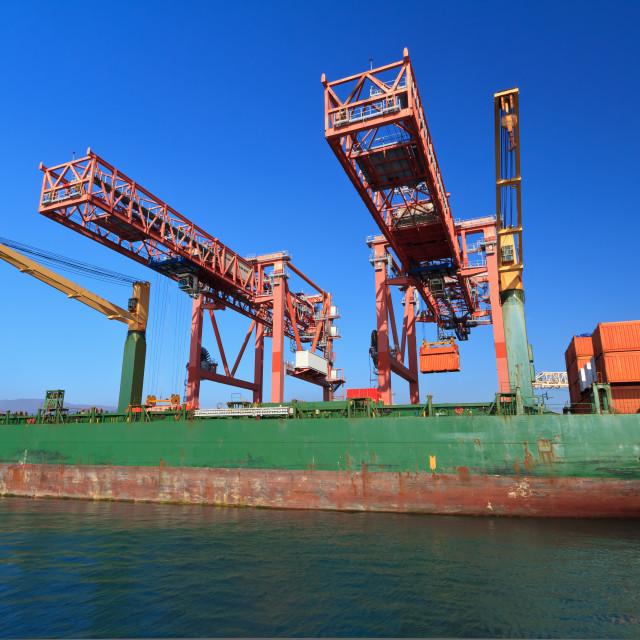 """Genova - container ship in harbor"" stock image"