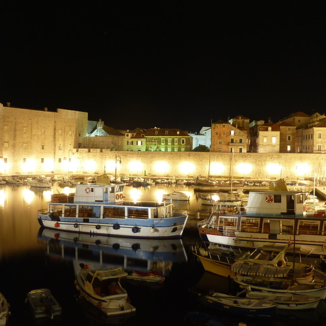 """Dubrovnik night harbour"" stock image"