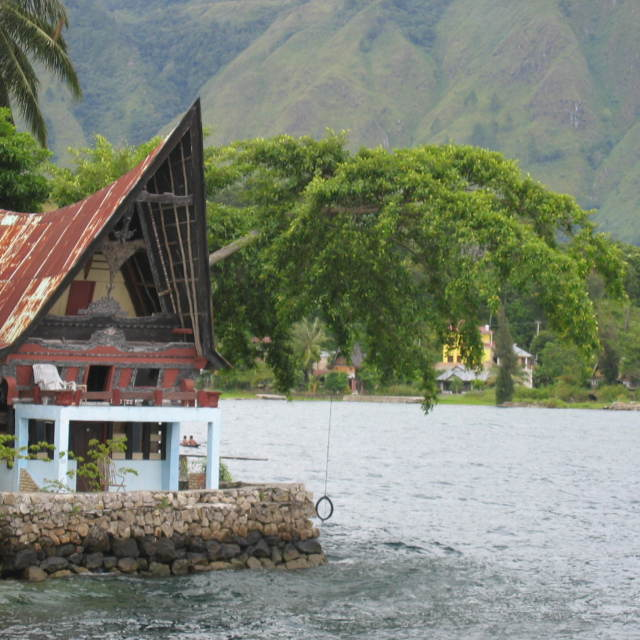 """lake toba, tuk tuk"" stock image"