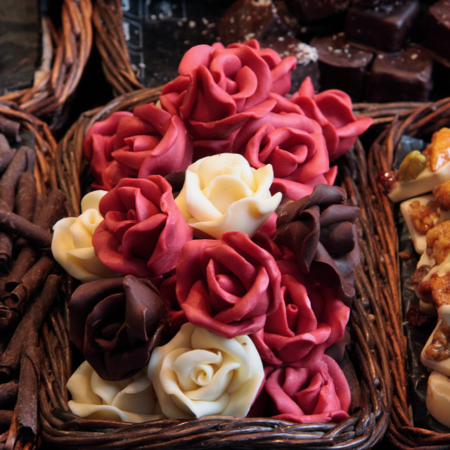 """Chocolates and Flowers"" stock image"