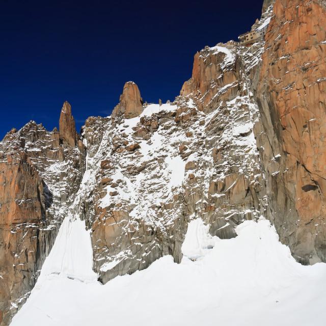 """Aiguiille du Midi and Mer de Glace"" stock image"