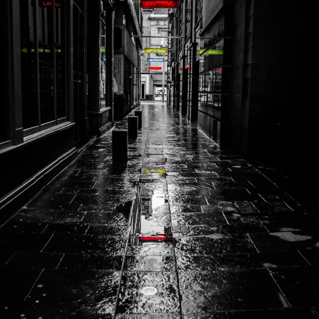 """Rainy Lane on Sunday"" stock image"