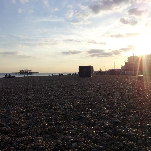 """Brighton Beach By Evening"" stock image"