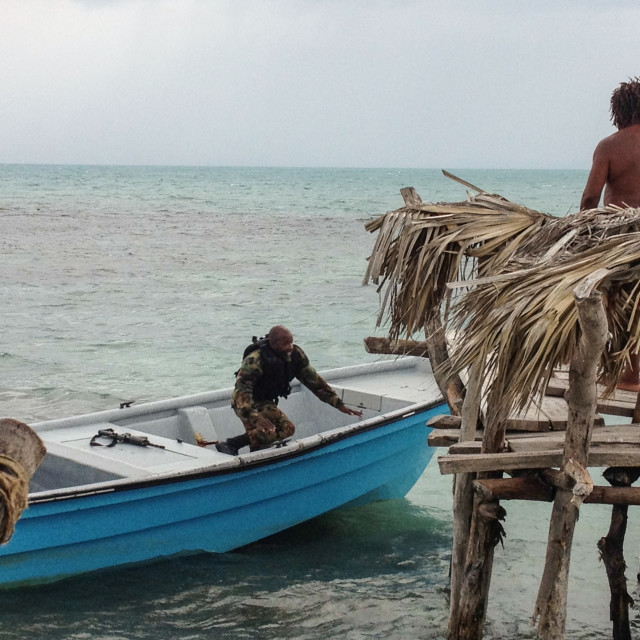 """Jamaica Sandbar with armed guards"" stock image"