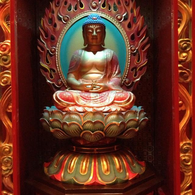 """Bodhisattva in Buddhist Temple"" stock image"