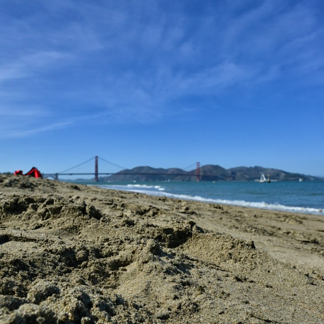 """Crissey Fields, looking to the Golden Gate"" stock image"