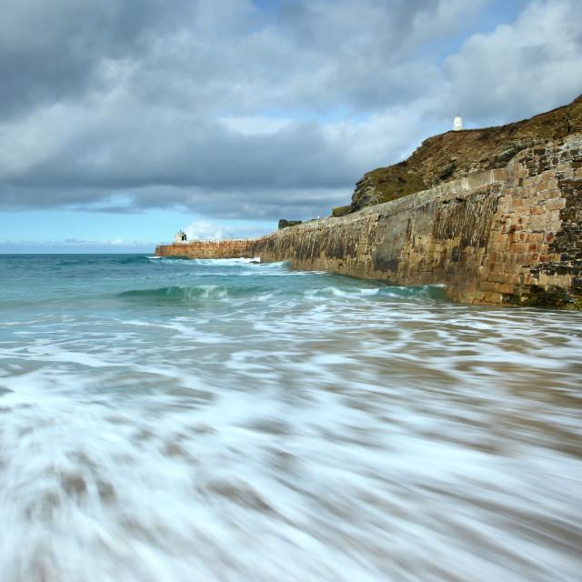 """Sea motion long exposure, Portreath pier, Cornwall UK."" stock image"