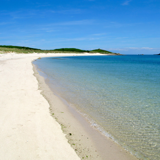 """""""Higher Town bay beach, St. Martins Isles of Scilly."""" stock image"""