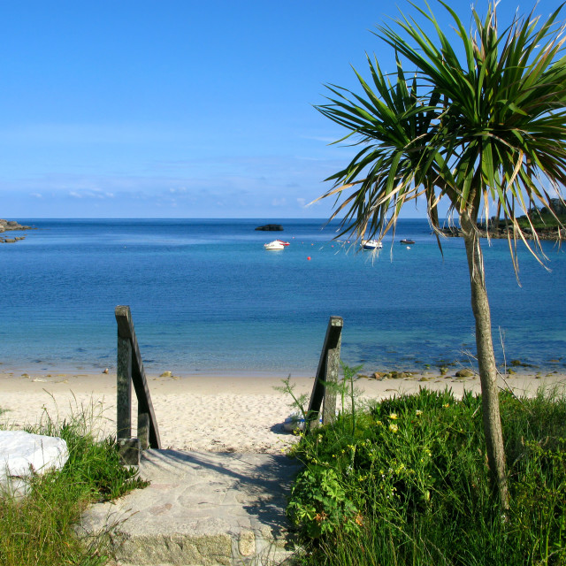 """""""Old town beach in St. Mary's, Isles of Scilly.."""" stock image"""