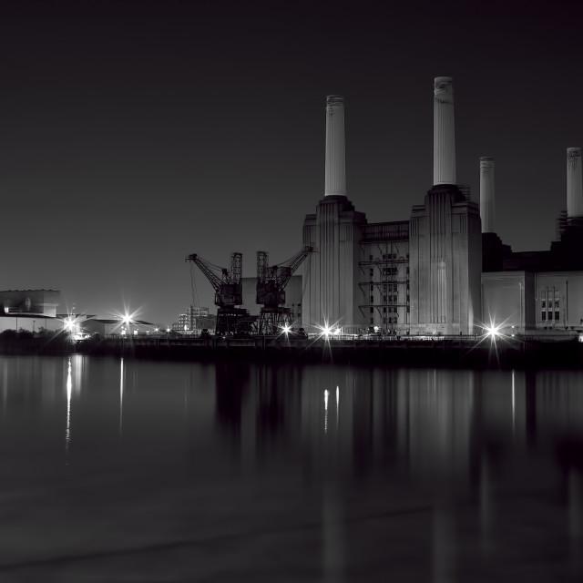 """battersea at night"" stock image"