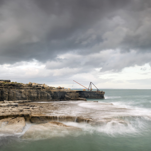 """Storms at Portland Bill"" stock image"