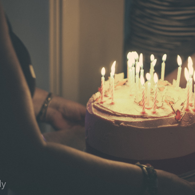 """Cake and candles"" stock image"