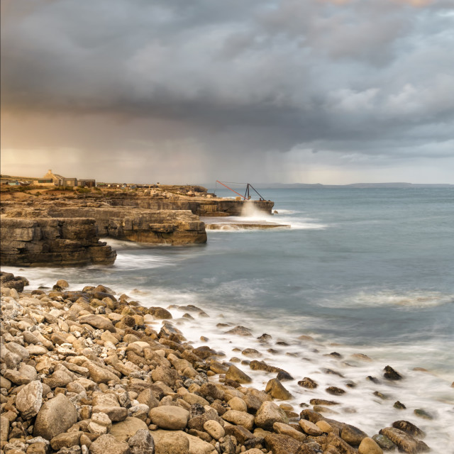 """Sunset Storms at Portland Bill"" stock image"