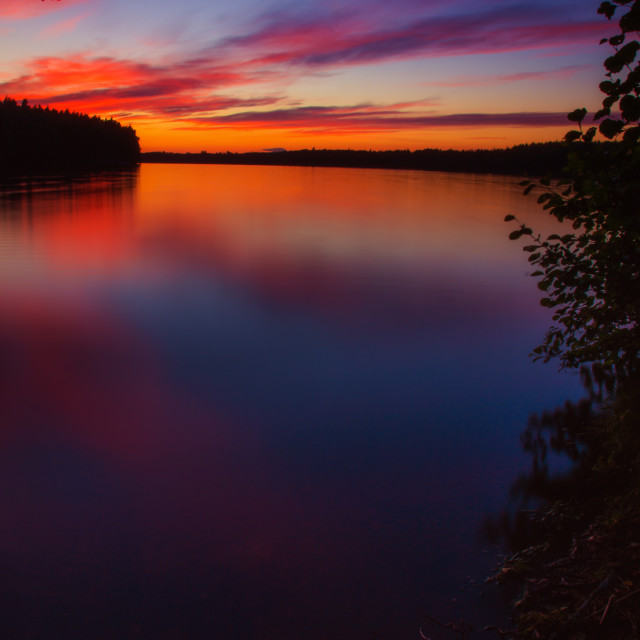 """""""Red sunset by the lake"""" stock image"""