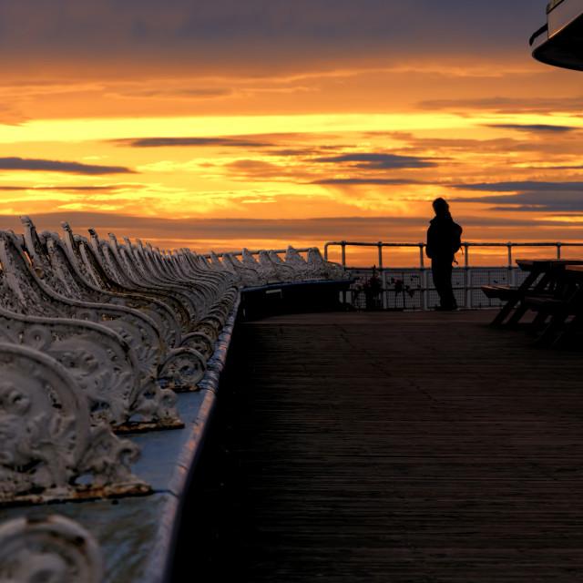 """Blackpool pier sunset"" stock image"