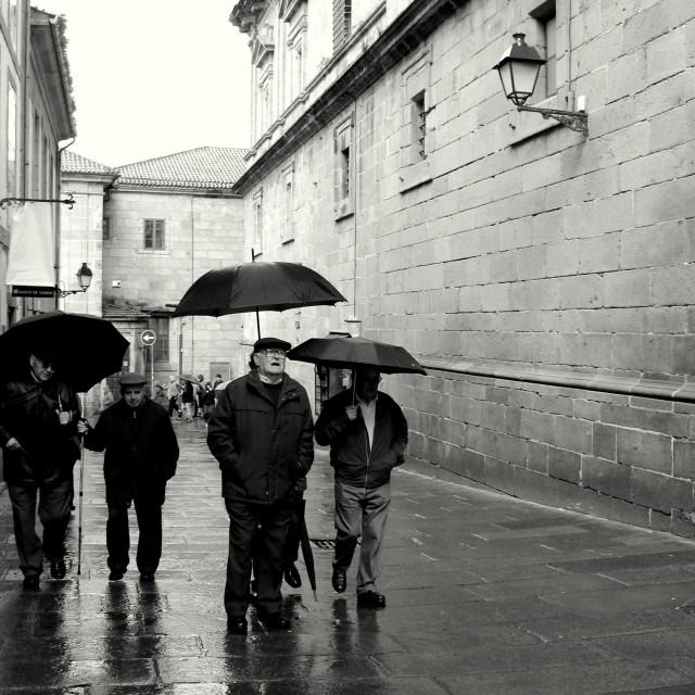 """""""Tough boys and umbrellas."""" stock image"""