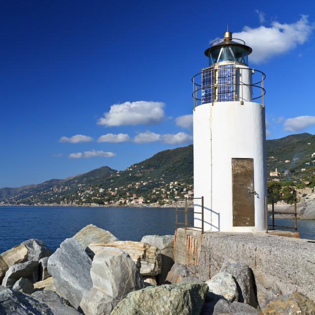 """Camogli - lighthouse over the sea"" stock image"