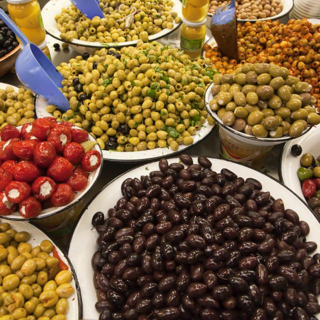 """Olives at market"" stock image"